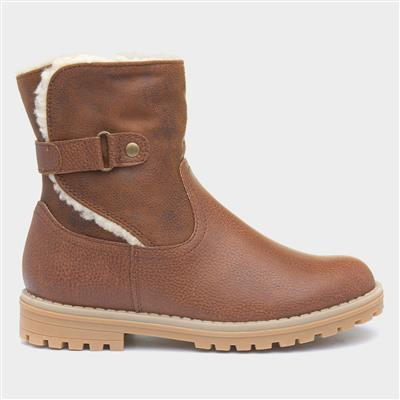Girls Tan Fleece Ankle Boot