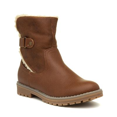 Girls Tan Fleece Ankle Boot