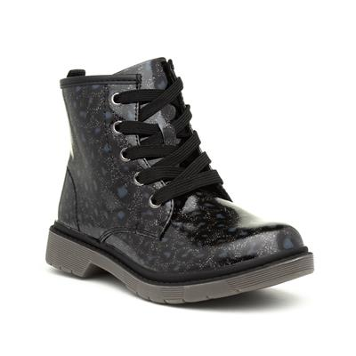 Girls Leopard Patent Lace Up Ankle Boot