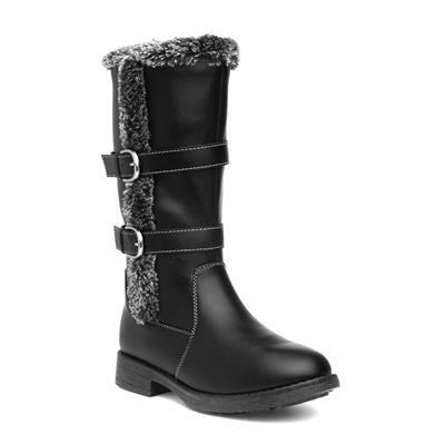 Girls Black Faux Fur Calf Boot