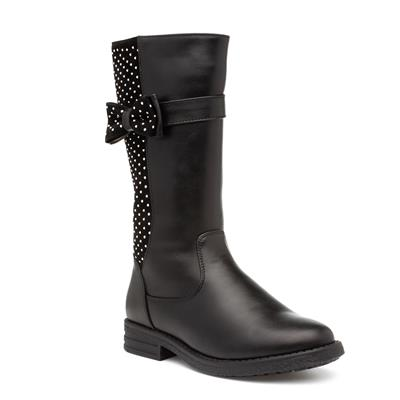 Girls Black Calf Boot with Bow