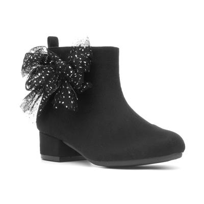 Girls Black Ankle Boot with Bow