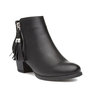 Girls Black Heeled  Ankle Boot