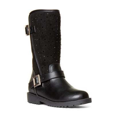 Girls Black Diamante Calf Boot