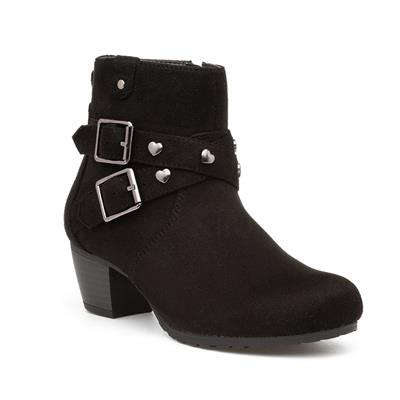 Girls Black Buckle Ankle Boot