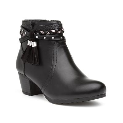 Girls Black Heeled Zip Up Ankle Boot