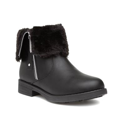 Black Girls Ankle Boot with Faux Fur Trim