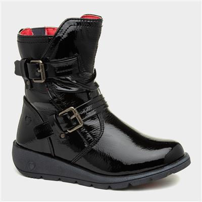 Ellie Girls Black Patent Boot