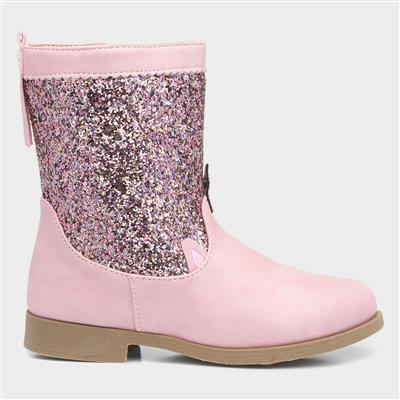 Girls Pink Glitter Unicorn Boot