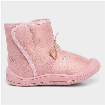 Girls Pink Easy Fasten Unicorn Boot