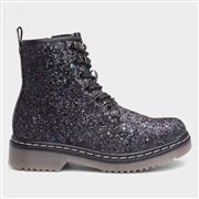 Fabs Girls Black Glitter Lace Up Ankle Boot (Click For Details)