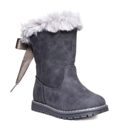 Snuggle Girls Grey Faux Suede Bow Boot