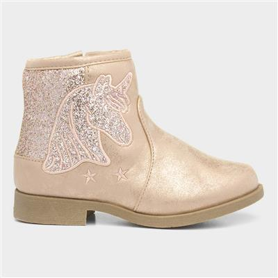 Girls Pink Unicorn Ankle Boot
