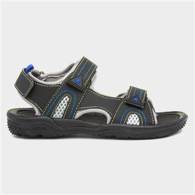 Boys Black Easy Fasten Sandal