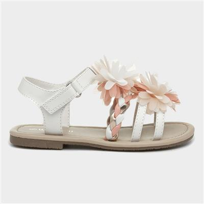 Girls White & Pink Floral Sandal