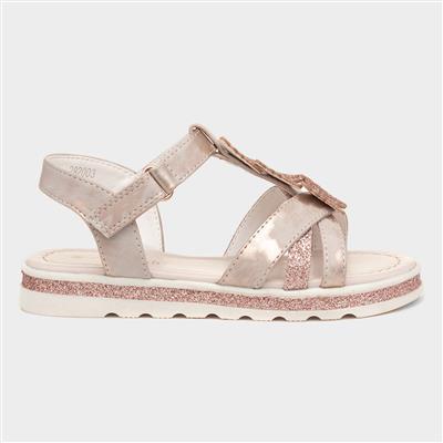 Girls Rose Gold Glitter Butterfly Sandal