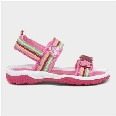 Girls Pink Rainbow Easy Fasten Sandals