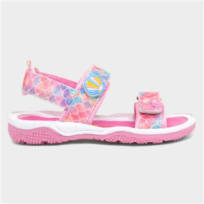 Girls Pink Shell Print Sandal