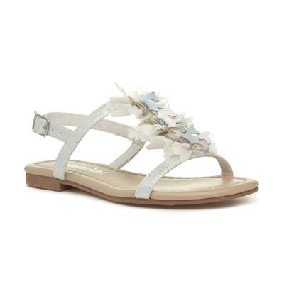 Girls White Unicorn Flat Sandal