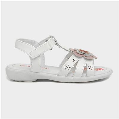 Girls White Floral Easy Fasten Sandal