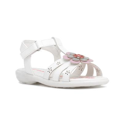 Girls White Floral Easy Fasten Sandal