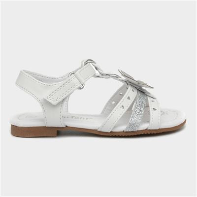 Girls White Butterfly Easy Fasten Sandal