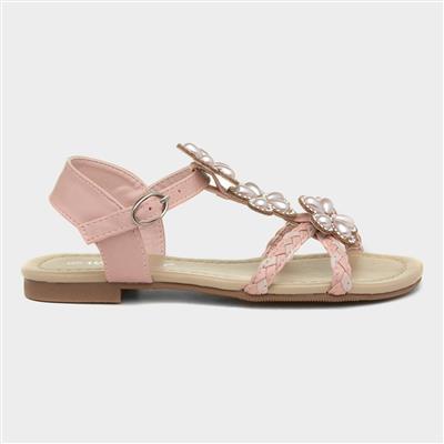 Girls Floral Flat Sandal in Pink