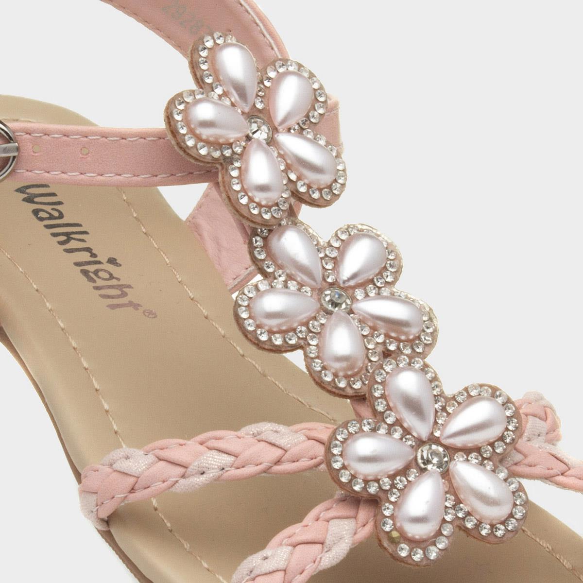 Walkright Girls Pink Plaited Flat Sole Floral Embellished Sandals
