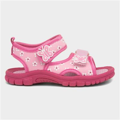 Girls Easy Fasten Pink Sandal