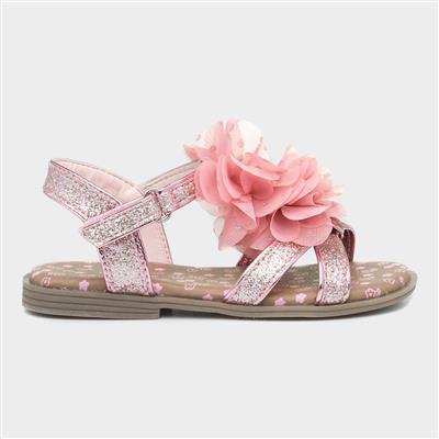 Girls Pink Floral Sandal