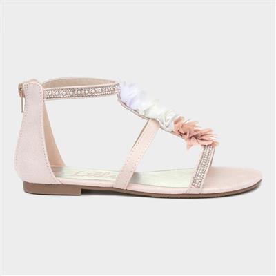 Girls Pink Floral Flat Sandal