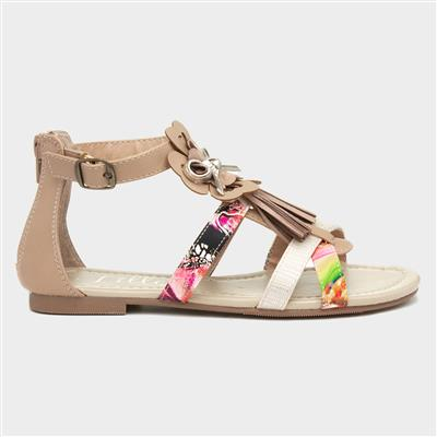 Girls Nude Strappy Flat Sandal