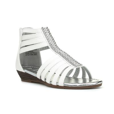 Girls White Strappy Diamante Sandal