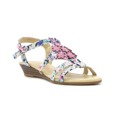 Girls Pink Floral Strappy Low Wedge Sandal