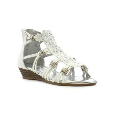 e0bd777a31d Lilley Girls White Beaded Low Wedge Sandal-29886