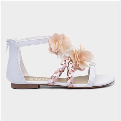 Girls Floral Flat Sandal in White