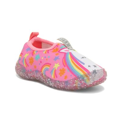 Kids Pink Unicorn Flat Character Aqua Shoes