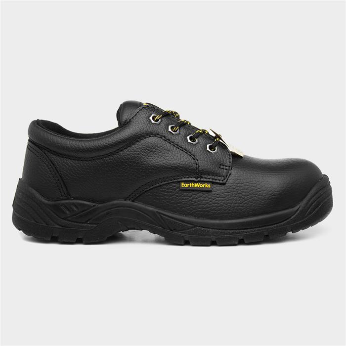 Earth Works Unisex Black Leather Safety Shoe
