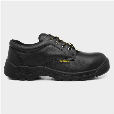 Unisex Black Leather Safety Shoe