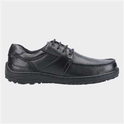 Theo Lace Up Moccasin in Black