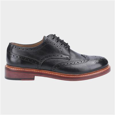 Quenington Mens Black Leather Brogue