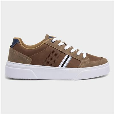 Mens Lace Up Casual Shoe in Tan