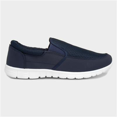 Mens Navy Slip On Lightweight Casual Shoe