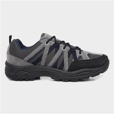 Mens Black & Grey Lace Up Hiking Shoe
