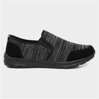 Mens Black Knitted Slip On Shoes