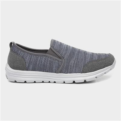 Mens Grey Marl Slip On Shoe