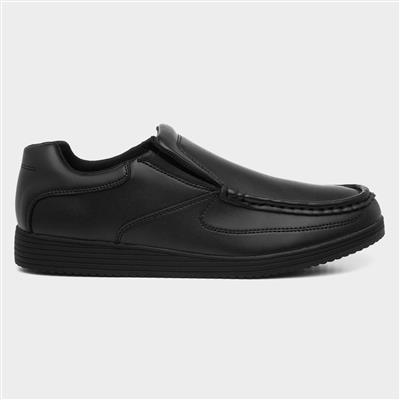 Mens Black Coated Leather Shoe