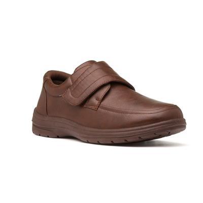 Mens Brown Touch Fasten Flat Shoes