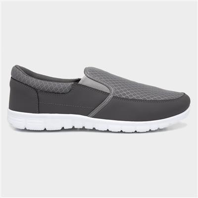 Mens Grey Slip On Sporty Casual Shoe