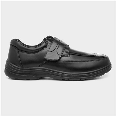 Mens Easy Fasten Black Shoe